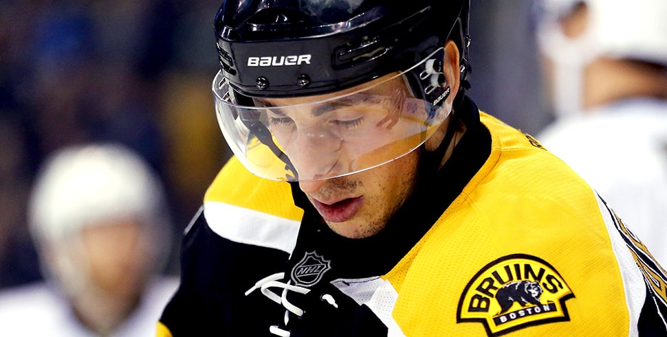 Brad Marchand talks suspension in a new statement to reporters in the wake of his five-game ban for an elbow to the Devils' Marcus Johansson. (Photo by Maddie Meyer/Getty Images)