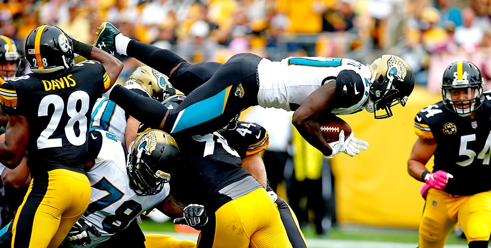 NFL Playoff Picks: The Jaguars may need to lean on Leonard Fournette against the Steelers. (Photo by Justin K. Aller/Getty Images)