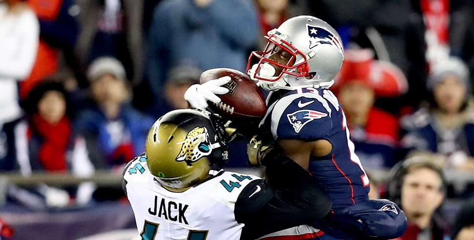 Phillip Dorsett of the New England Patriots makes a catch over Myles Jack of the Jacksonville Jaguars during the AFC Championship Game at Gillette Stadium on January 21, 2018 in Foxborough, Massachusetts. (Photo by Adam Glanzman/Getty Images)