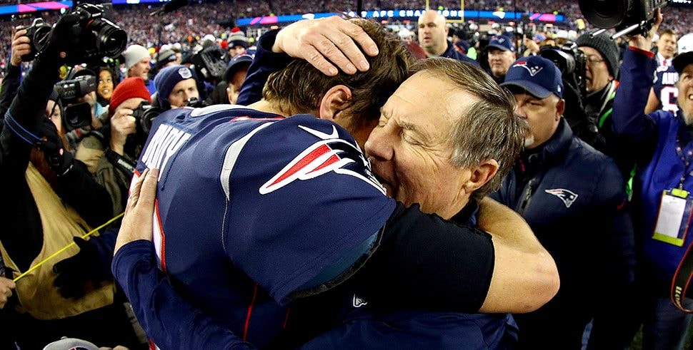 Tom Brady celebrates with Bill Belichick after winning the AFC Championship Game against the Jacksonville Jaguars at Gillette Stadium on Jan. 21, 2018 in Foxborough, Massachusetts. (Photo by Maddie Meyer/Getty Images)
