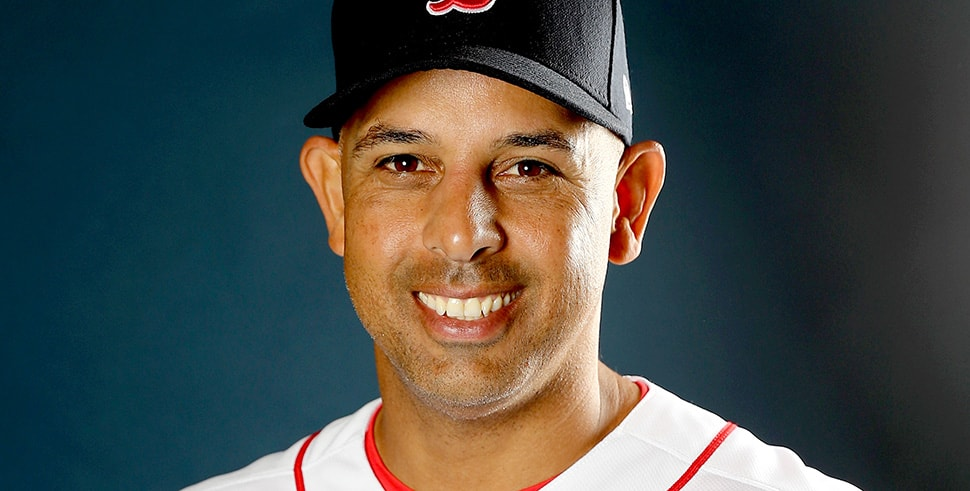 Manager Alex Cora of the Boston Red Sox poses for a portrait during the Boston Red Sox photo day on February 20, 2018. (Photo by Elsa/Getty Images)