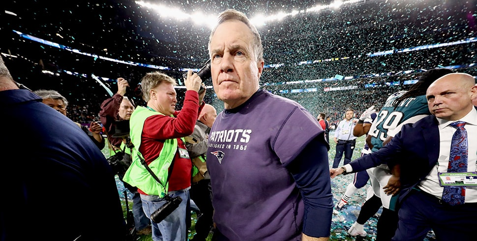 Bill Belichick reacts after the Philadelphia Eagles defeated the New England Patriots 41-33 in Super Bowl LII. (Photo by Elsa/Getty Images)
