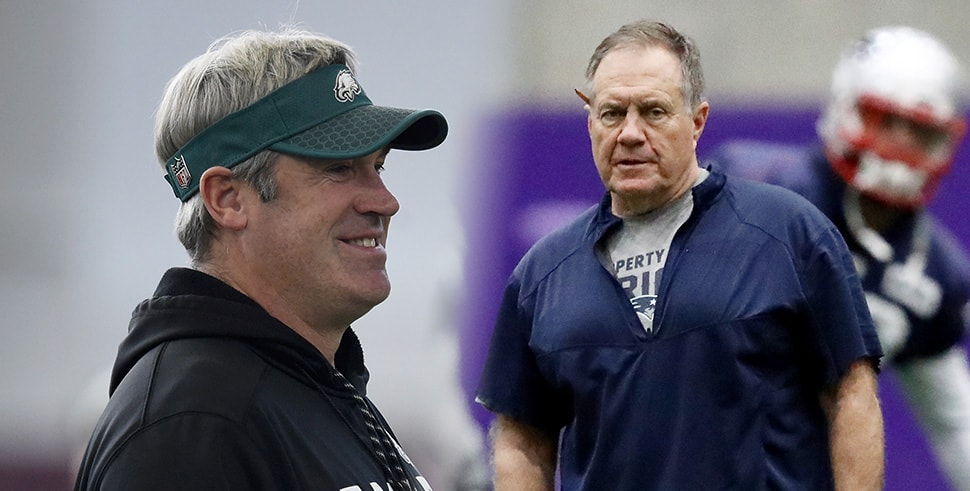 (L-R) Doug Pederson, Bill Belichick at Super Bowl LII practices for the Eagles and Patriots. (Photos by Hannah Foslien/Elsa/Getty Images)