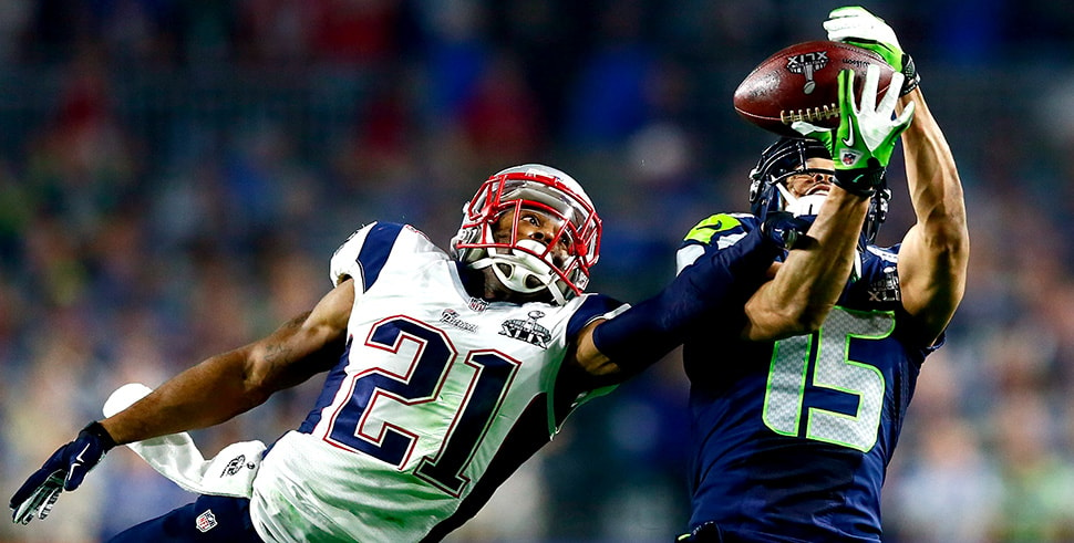Malcolm Butler breaks up a pass intended for Jermaine Kearse of the Seattle Seahawks in the third quarter of Super Bowl XLIX. (Photo by Kevin C. Cox/Getty Images)