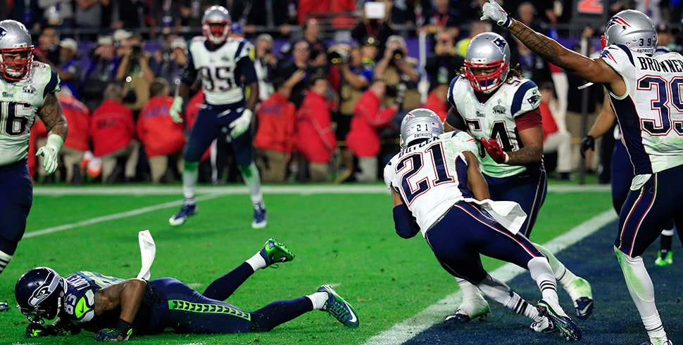 Malcolm Butler of the New England Patriots intercepts a pass by Russell Wilson of the Seattle Seahawks late in the fourth quarter of Super Bowl XLIX. (Photo by Rob Carr/Getty Images)