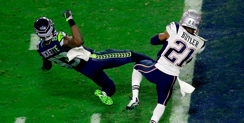 Malcolm Butler intercepts a pass by Russell Wilson of the Seattle Seahawks late in the fourth quarter of Super Bowl XLIX. (Photo by Jamie Squire/Getty Images)