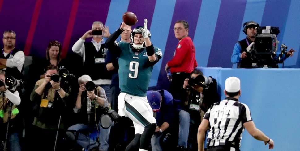 Nick Foles of the Philadelphia Eagles catches a touchdown reception from teammate Trey Burton (not pictured) against the New England Patriots in Super Bowl LII. (Photo by Streeter Lecka/Getty Images)