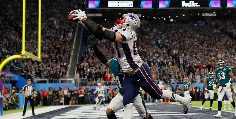 Rob Gronkowski makes a 4-yard touchdown reception in the fourth quarter of Super Bowl LII. (Photo by Kevin C. Cox/Getty Images)