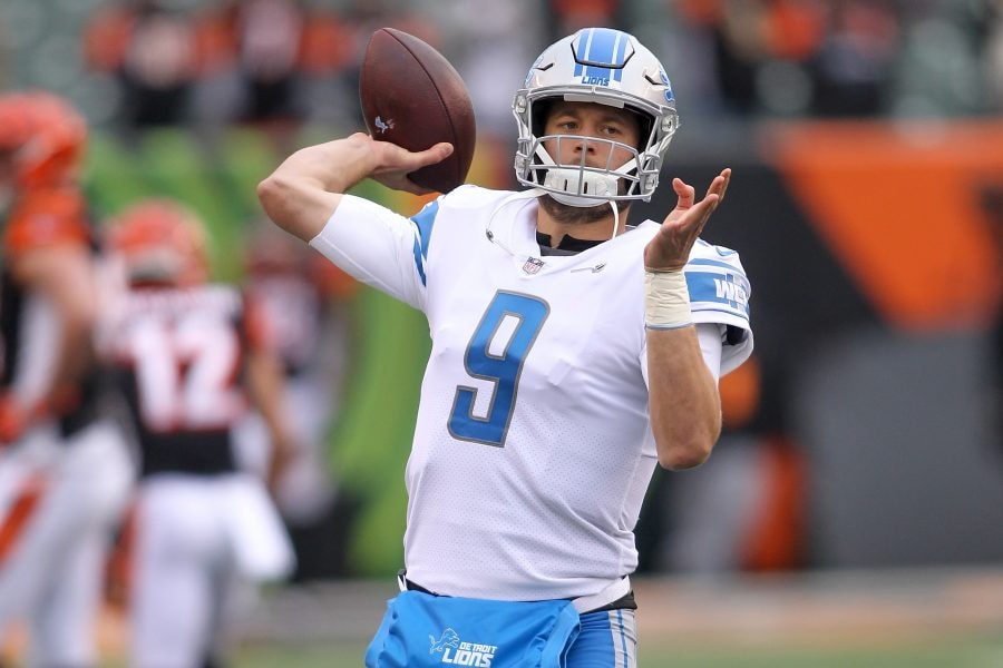 Matthew Stafford would be among the most talented and accomplished options in the Patriots' search for a quarterback. (Photo by John Grieshop/Getty Images)