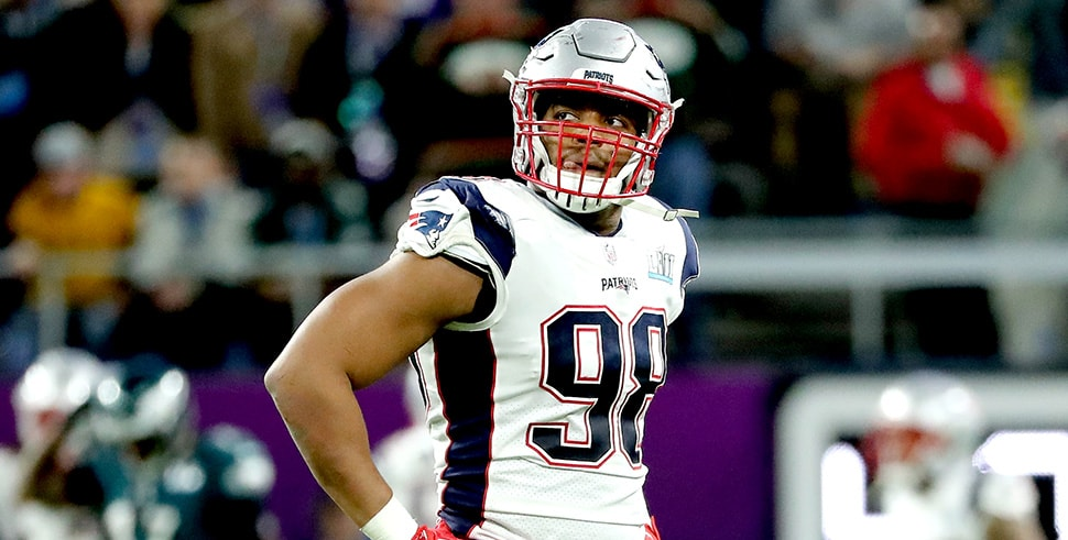 Trey Flowers looks on during Super Bowl LII. (Photo by Elsa/Getty Images)