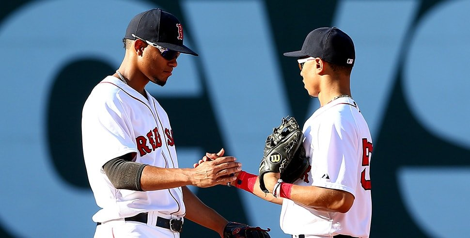 (L-R) Xander Bogaerts, Mookie Betts (Photo by Elsa/Getty Images)