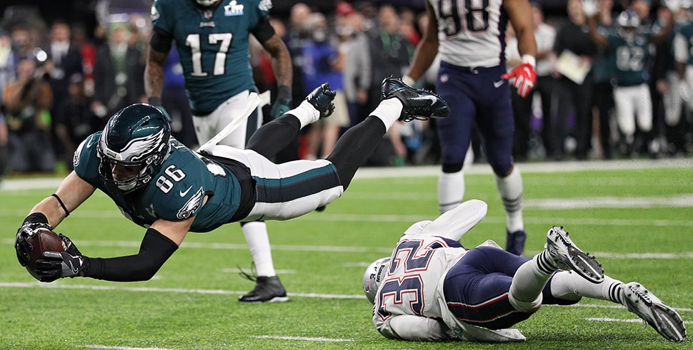 Zach Ertz of the Philadelphia Eagles scores an 11-yard touchdown past Devin McCourty of the New England Patriots in the fourth quarter of Super Bowl LII. (Photo by Patrick Smith/Getty Images)