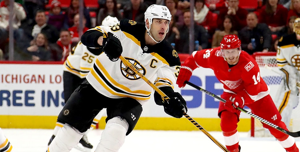 Zdeno Chara makes a pass in front of Gustav Nyquist of the Detroit Red Wings at Little Caesars Arena on Feb. 6, 2018. (Photo by Gregory Shamus/Getty Images)