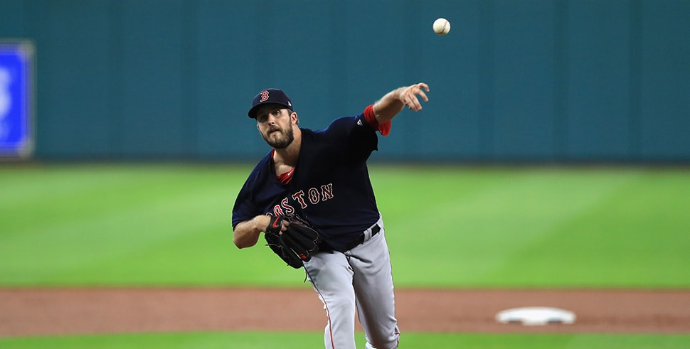 Drew Pomeranz throws for the Boston Red Sox against the Houston Astros during Game 2 of the American League Division Series at Minute Maid Park on October 6, 2017 in Houston, Texas. (Photo by Ronald Martinez/Getty Images)