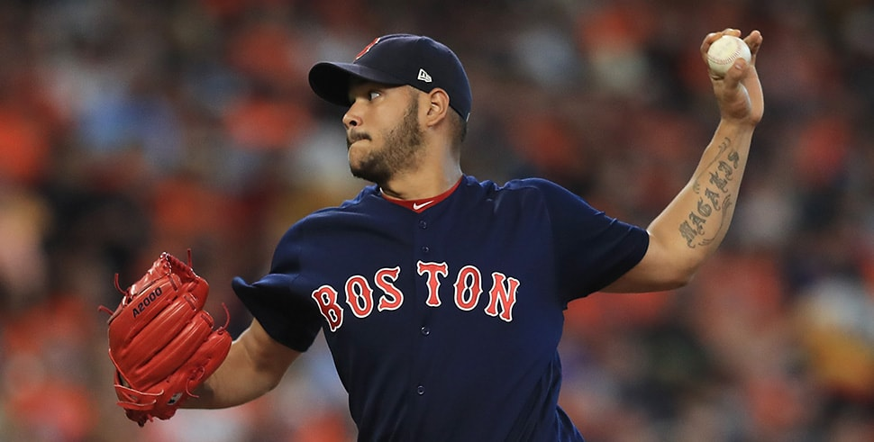 Eduardo Rodriguez throws for the Boston Red Sox against the Houston Astros during game 2 of the American League Division Series at Minute Maid Park on October 6, 2017 in Houston, Texas. (Photo by Ronald Martinez/Getty Images)