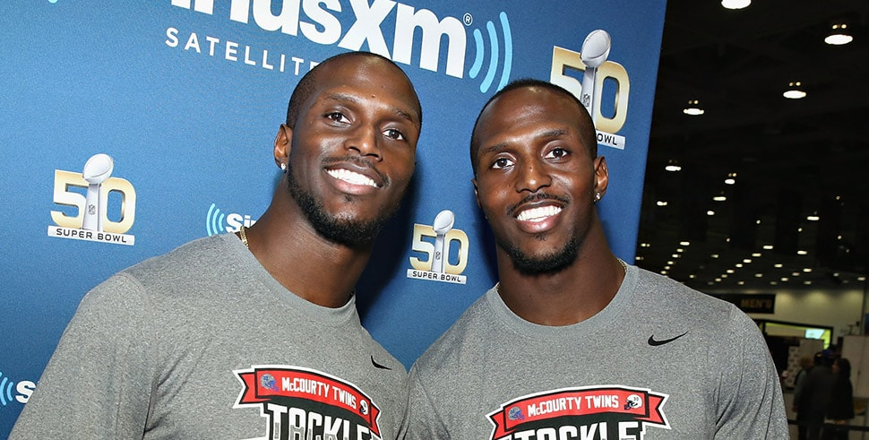 Jason McCourty of the Tennessee Titans and Devin McCourty of the New England Patriots (Photo by Cindy Ord/Getty Images for SiriusXM)
