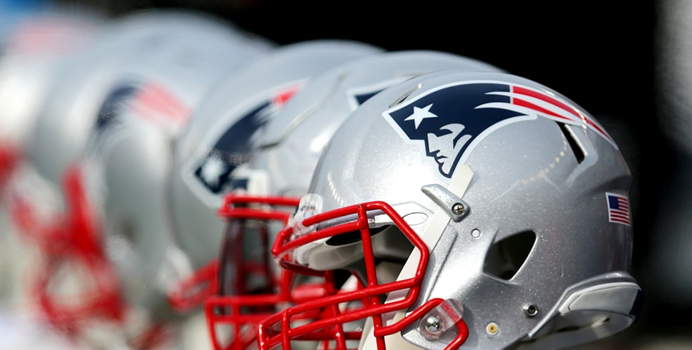 A New England Patriots helmet during the game between the New England Patriots and the Buffalo Bills at Gillette Stadium on December 24, 2017 in Foxboro, Massachusetts. (Photo by Maddie Meyer/Getty Images)