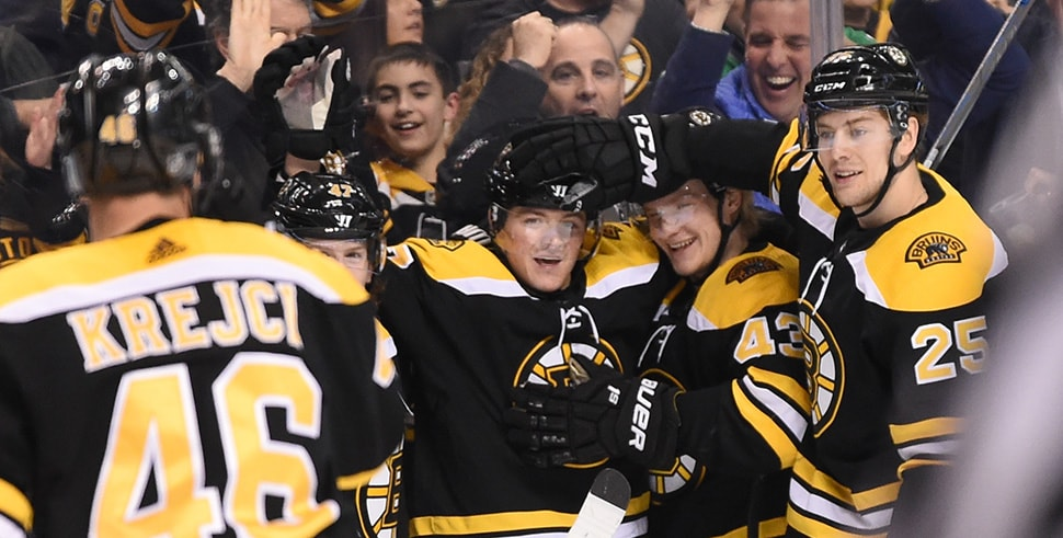 Ryan Donato celebrates his first NHL goal for the Boston Bruins against the Columbus Blue Jackets at the TD Garden on March 19, 2018 in Boston, Massachusetts. (Photo by Steve Babineau/NHLI via Getty Images)