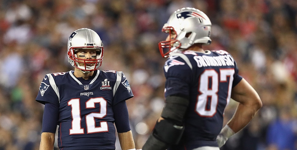 Tom Brady looks at Rob Gronkowski during their game for the New England Patriots against the Kansas City Chiefs at Gillette Stadium on September 7, 2017 in Foxboro, Massachusetts. (Photo by Maddie Meyer/Getty Images)