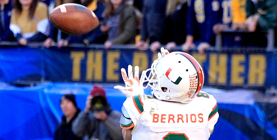 Nov 24, 2017, Pittsburgh, PA, USA: Miami Hurricanes wide receiver Braxton Berrios (8) catches a touchdown pass against the Pittsburgh Panthers during the fourth quarter at Heinz Field. Pittsburgh won 24-14. (Photo Credit: Charles LeClaire-USA TODAY Sports)