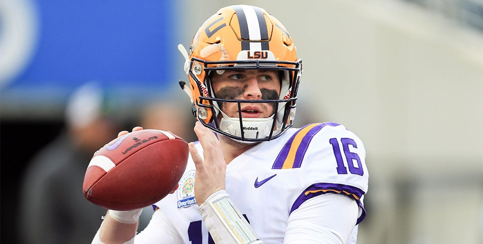 Jan 1, 2018, Orlando, FL, USA;: LSU Tigers quarterback Danny Etling warms up before the 2018 Citrus Bowl against the Notre Dame Fighting Irish at Camping World Stadium. (Photo Credit: Matt Stamey-USA TODAY Sports)