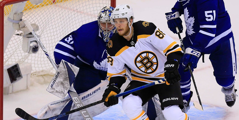 Apr 16, 2018, Toronto, Ontario, CAN: Boston Bruins winger David Pastrnak looks for the puck in front of Toronto Maple Leafs goaltender Frederik Andersen during Game 3 of the first round of the 2018 Stanley Cup Playoffs at Air Canada Centre. (Photo Credit: John E. Sokolowski-USA TODAY Sports)