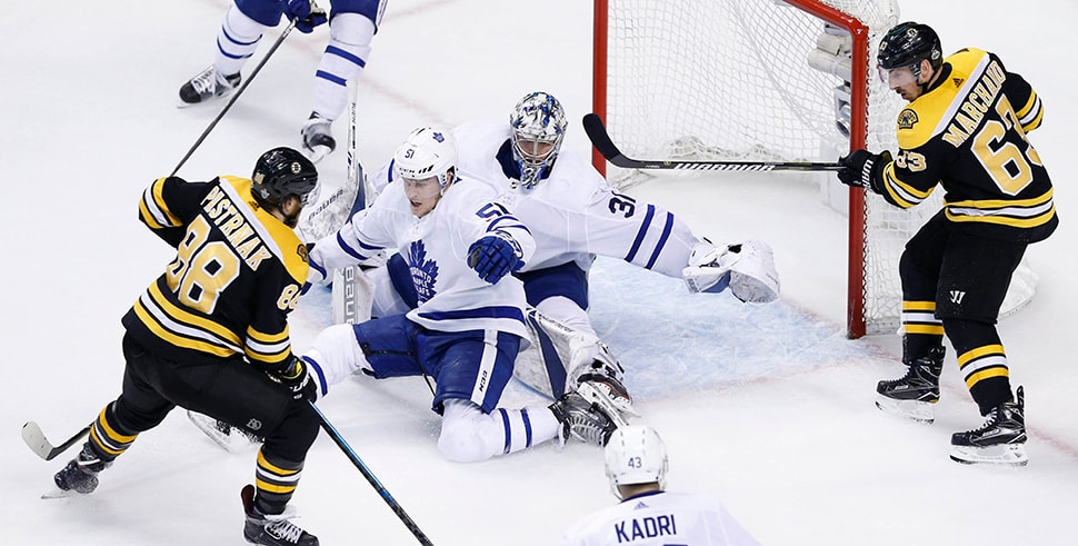 Apr 25, 2018, Boston, MA, USA: Boston Bruins right wing David Pastrnak scores a goal on Toronto Maple Leafs goalie Frederik Andersen during the third period in Game 7 of the first round of the 2018 Stanley Cup Playoffs at TD Garden. (Photo Credit: Greg M. Cooper-USA TODAY Sports)