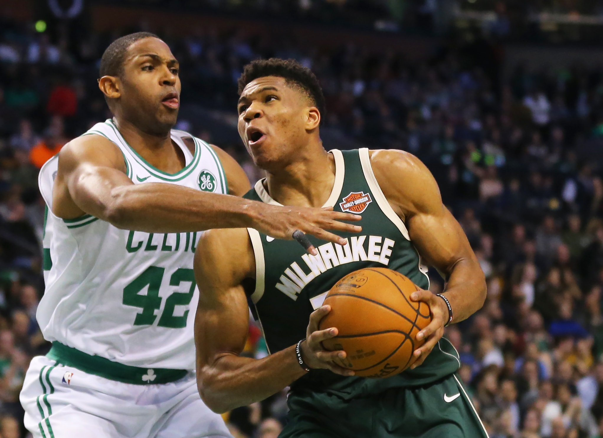 97c5e3202f3d BOSTON - DECEMBER 4  Al Horford of the Celtics defends Giannis  Antetokounmpo of the Bucks during the second quarter at TD Garden on  December 4