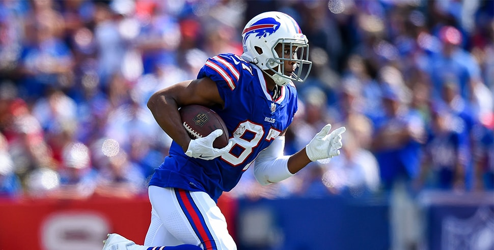 Sep 10, 2017; Orchard Park, NY, USA; Buffalo Bills wide receiver Jordan Matthews (87) runs with the ball after a catch against the New York Jets during the third quarter at New Era Field. Mandatory Credit: Rich Barnes-USA TODAY Sports