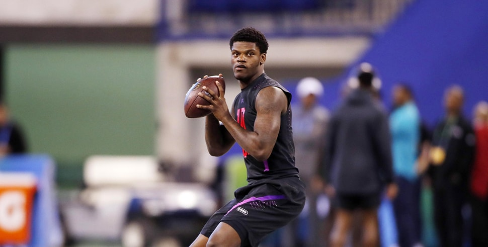 Louisville quarterback Lamar Jackson works out at the 2018 NFL Combine. (Photo Credit: Brian Spurlock-USA TODAY Sports)