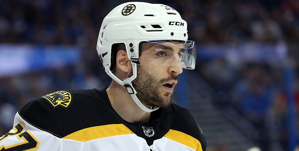 Apr 3, 2018, Tampa, FL, USA: Boston Bruins center Patrice Bergeron during the first period at Amalie Arena. (Photo Credit: Kim Klement-USA TODAY Sports)