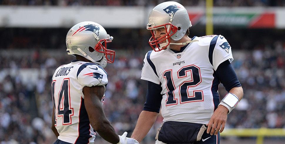 Brandin Cooks Tom Brady react after a touchdown against the Oakland Raiders at Estadio Azteca. New England won 33-8. (Photo Credit: Orlando Ramirez-USA TODAY Sports)
