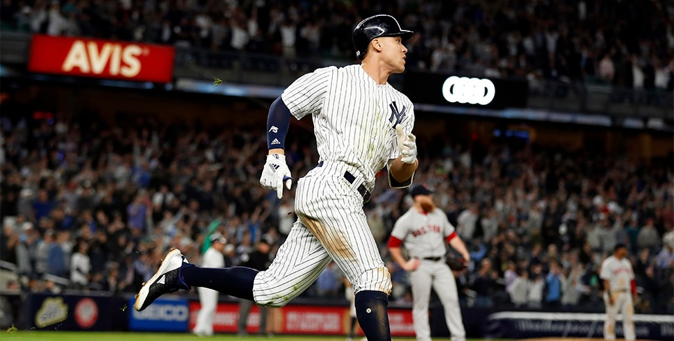 May 9, 2018, Bronx, NY, USA: New York Yankees right fielder Aaron Judge watches a two-run home run off of Boston Red Sox relief pitcher Craig Kimbrel during the eighth inning at Yankee Stadium. (Photo Credit: Adam Hunger-USA TODAY Sports)
