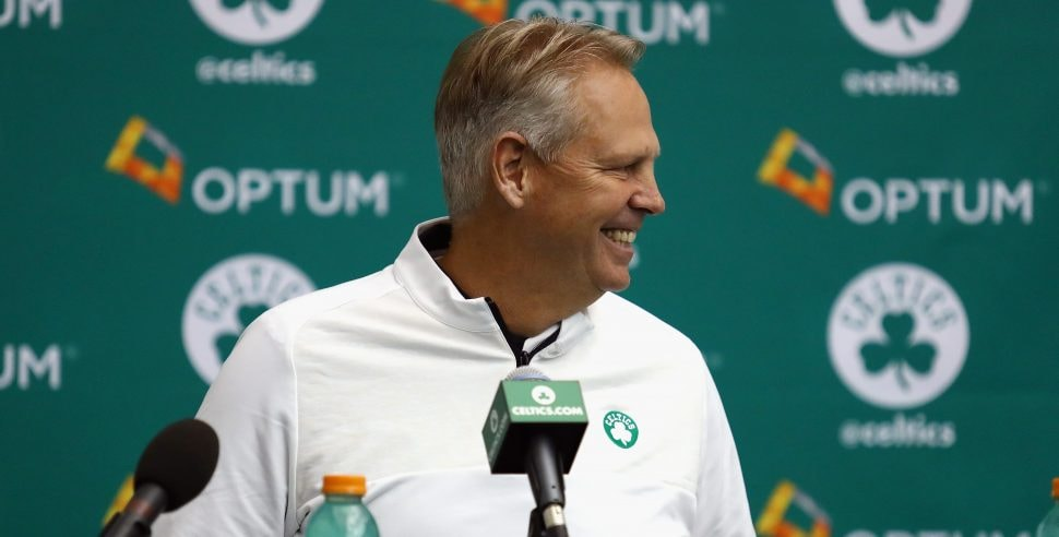 WALTHAM, MA - SEPTEMBER 26: General manager Danny Ainge of the Boston Celtics speaks with the media during Boston Celtics Media Day on Sept. 26, 2016 in Waltham, Massachusetts. (Photo by Tim Bradbury/Getty Images)