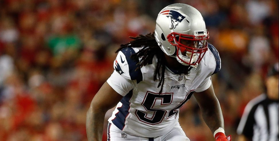 Oct 5, 2017, Tampa, FL, USA: New England Patriots middle linebacker Dont'a Hightower rushes against the Tampa Bay Buccaneers during the second half at Raymond James Stadium. (Photo Credit: Kim Klement-USA TODAY Sports)