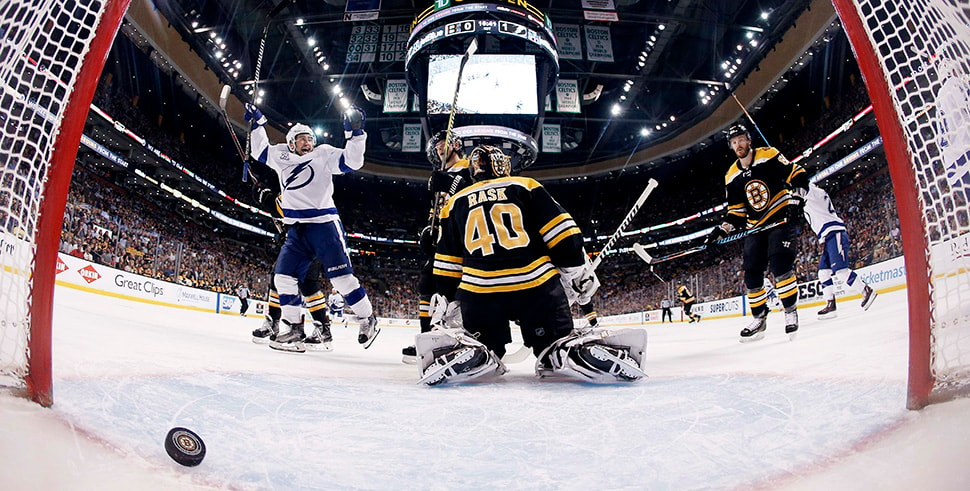 May 2, 2018, Boston, MA, USA: Tampa Bay Lightning center Tyler Johnson celebrates a goal on Boston Bruins goaltender Tuukka Rask by left wing Ondrej Palat as Boston Bruins defenseman Kevan Miller looks on during the first period of game three of the second round of the 2018 Stanley Cup Playoffs at TD Garden. (Photo Credit: Winslow Townson-USA TODAY Sports)
