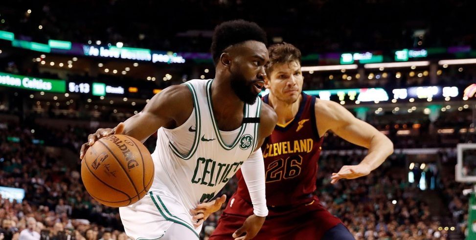 May 13, 2018, Boston, MA, USA: Boston Celtics guard Jaylen Brown drives to the net in front of Cleveland Cavaliers guard Kyle Korver during the third quarter in Game 1 of the Eastern Conference Finals of the 2018 NBA Playoffs at TD Garden. (Photo Credit: Winslow Townson-USA TODAY Sports)