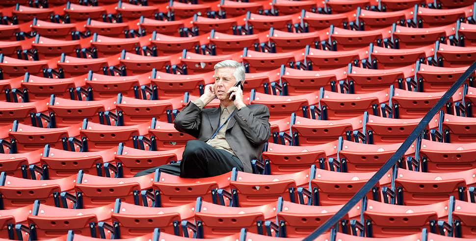 Apr 13, 2018, Boston, MA, USA: Boston Red Sox president of baseball operations Dave Dombrowski talks on the phone prior to a game against the Baltimore Orioles at Fenway Park. (Photo Credit: Bob DeChiara-USA TODAY Sports)