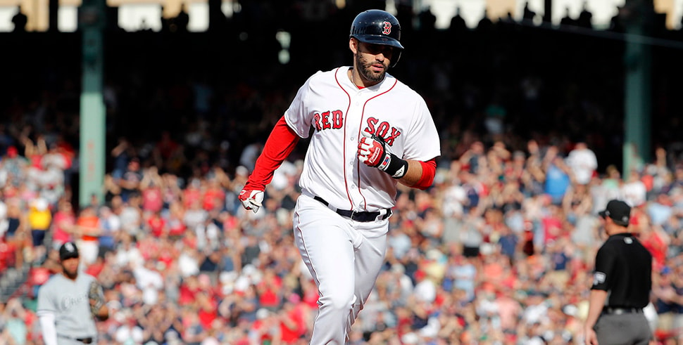 Jun 9, 2018, Boston, MA, USA: Boston Red Sox right fielder J.D. Martinez rounds the bases after his two-run home run against the Chicago White Sox during the fifth inning at Fenway Park. (Photo Credit: Winslow Townson-USA TODAY Sports)