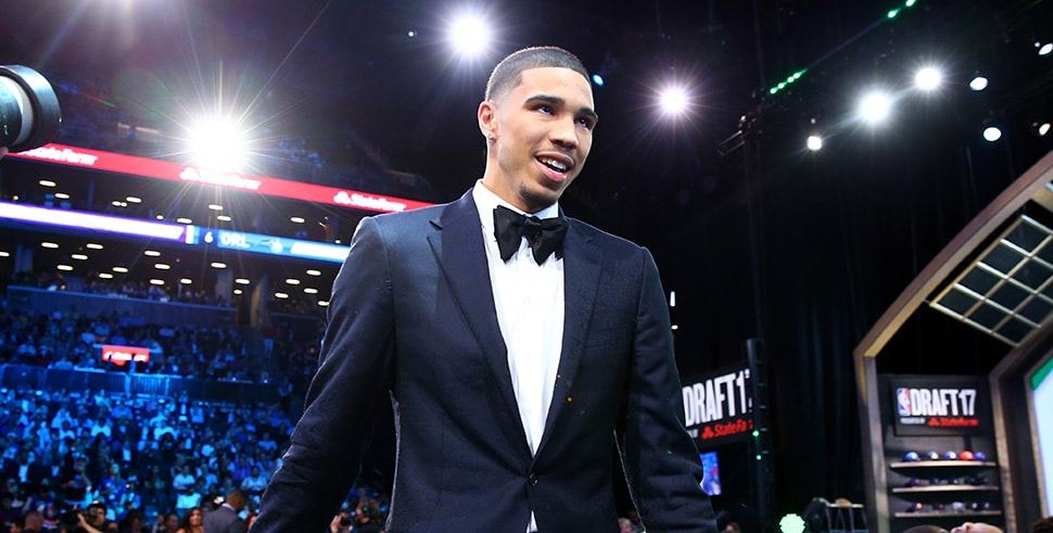 NEW YORK, NY - JUNE 22: Jayson Tatum walks to stage after being drafted third overall by the Boston Celtics during the first round of the 2017 NBA Draft at Barclays Center. (Photo by Mike Stobe/Getty Images)