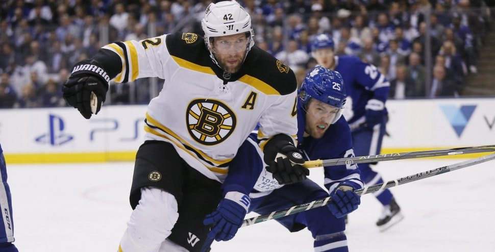 Apr 23, 2018; Toronto, Ontario: Boston Bruins forward David Backes tries to get around Toronto Maple Leafs forward James van Riemsdyk during the first period of Game 6 of the first round of the 2018 Stanley Cup Playoffs at Air Canada Centre. (John E. Sokolowski-USA TODAY Sports)