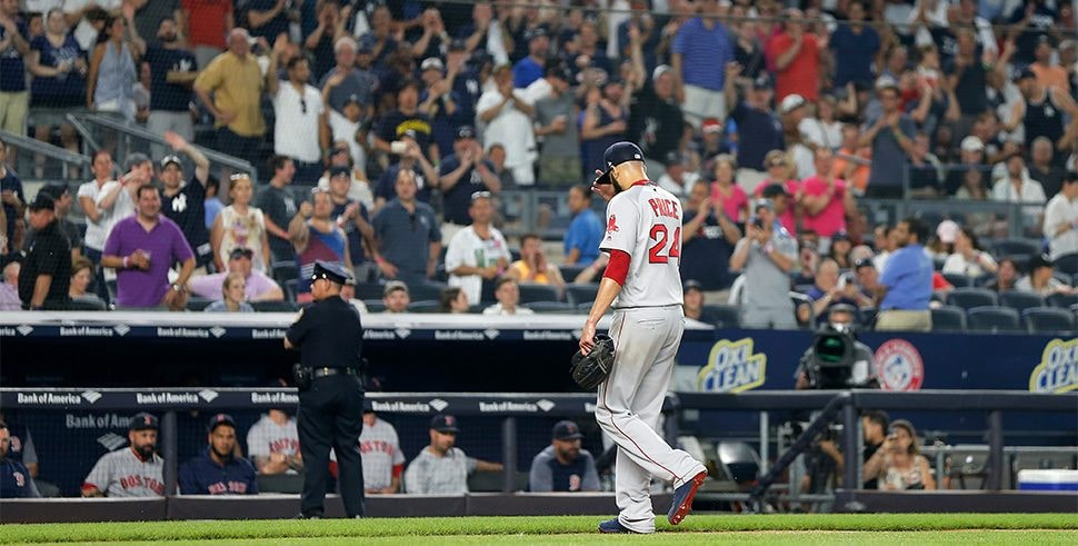 NEW YORK, NY - JULY 01: David Price of the Boston Red Sox walks to the dugout after he was removed from a game against the Boston Red Sox in the fourth inning at Yankee Stadium. (Photo by Jim McIsaac/Getty Images)