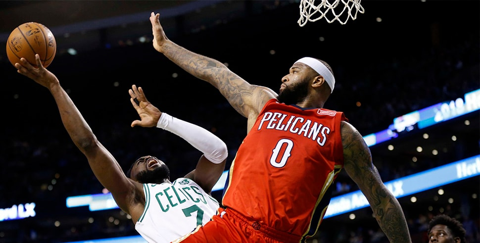 Jan 16, 2018; Boston, MA: Boston Celtics guard Jaylen Brown is defended by New Orleans Pelicans forward DeMarcus Cousins during the second half at TD Garden. (Photo Credit: Greg M. Cooper-USA TODAY Sports)