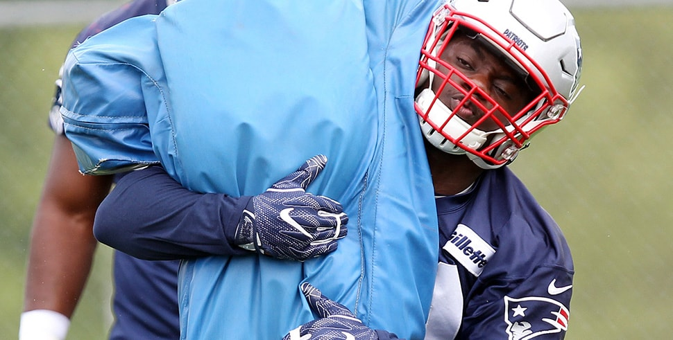 May 22, 2018; Foxborough, MA, USA; New England Patriots linebacker Dont'a Hightower (54) runs through drills during organized team activities at Gillette practice fields. (Photo Credit: Stew Milne-USA TODAY Sports)