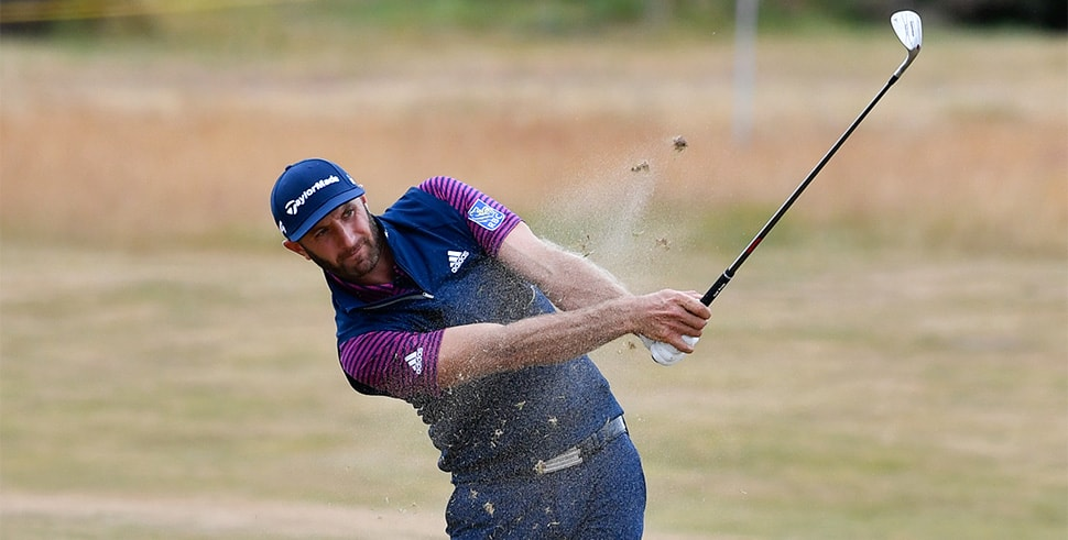 Jul 16, 2018; Carnoustie, Angus, SCT; Dustin Johnson plays from the 5th fairway during a practice round of The Open Championship golf tournament at Carnoustie Golf Links. (Photo Credit: Steve Flynn-USA TODAY Sports)