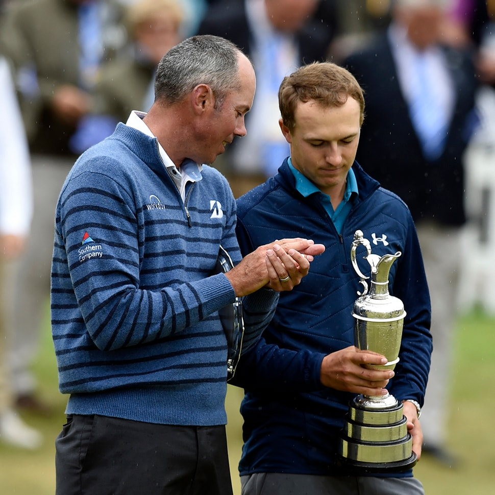 Jul 23, 2017, Southport, ENG: Jordan Spieth holds the Claret Jug and shows it to Matt Kuchar after winning the 146th Open Championship golf tournament at Royal Birkdale Golf Club. (Photo Credit: Ian Rutherford-USA TODAY Sports)