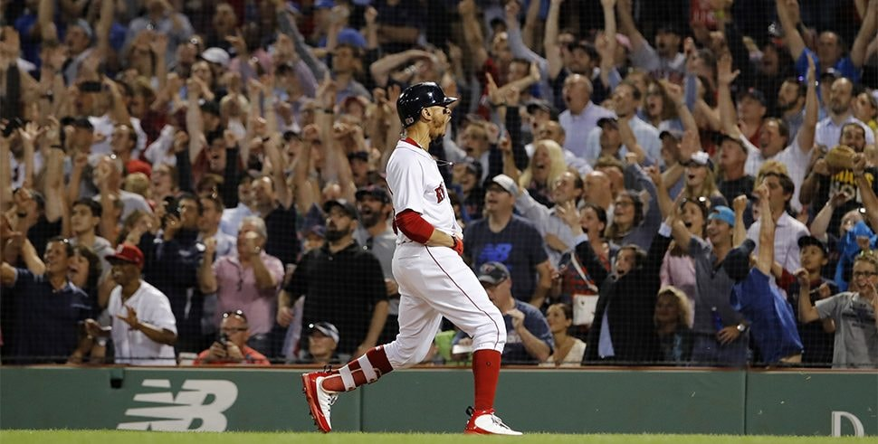 Jul 12, 2018; Boston, MA: Boston Red Sox right fielder Mookie Betts reacts after hitting a grand slam against the Toronto Blue Jays in the fourth inning at Fenway Park. (Photo Credit: David Butler II-USA TODAY Sports)