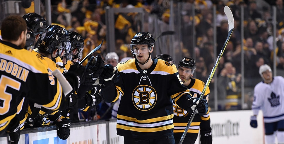 Apr 12, 2018; Boston, MA: Boston Bruins center Sean Kuraly is congratulated by his teammates after scoring a goal during the third period in game one of the first round of the 2018 Stanley Cup Playoffs against the Toronto Maple Leafs at TD Garden. (Photo Credit: Bob DeChiara-USA TODAY Sports)