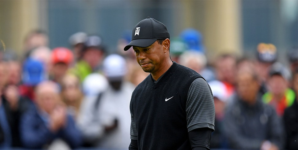 Jul 20, 2018; Carnoustie, SCT; Tiger Woods reacts on the 18th green during the second round of The Open Championship golf tournament at Carnoustie Golf Links. (Photo Credit: Thomas J. Russo-USA TODAY Sports)
