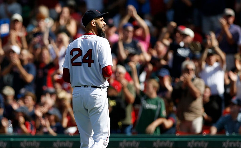 Aug 23, 2018; Boston, MA: Boston Red Sox pitcher David Price reacts after being relieved during the ninth inning against the Cleveland Indians at Fenway Park. (Greg M. Cooper-USA TODAY Sports)